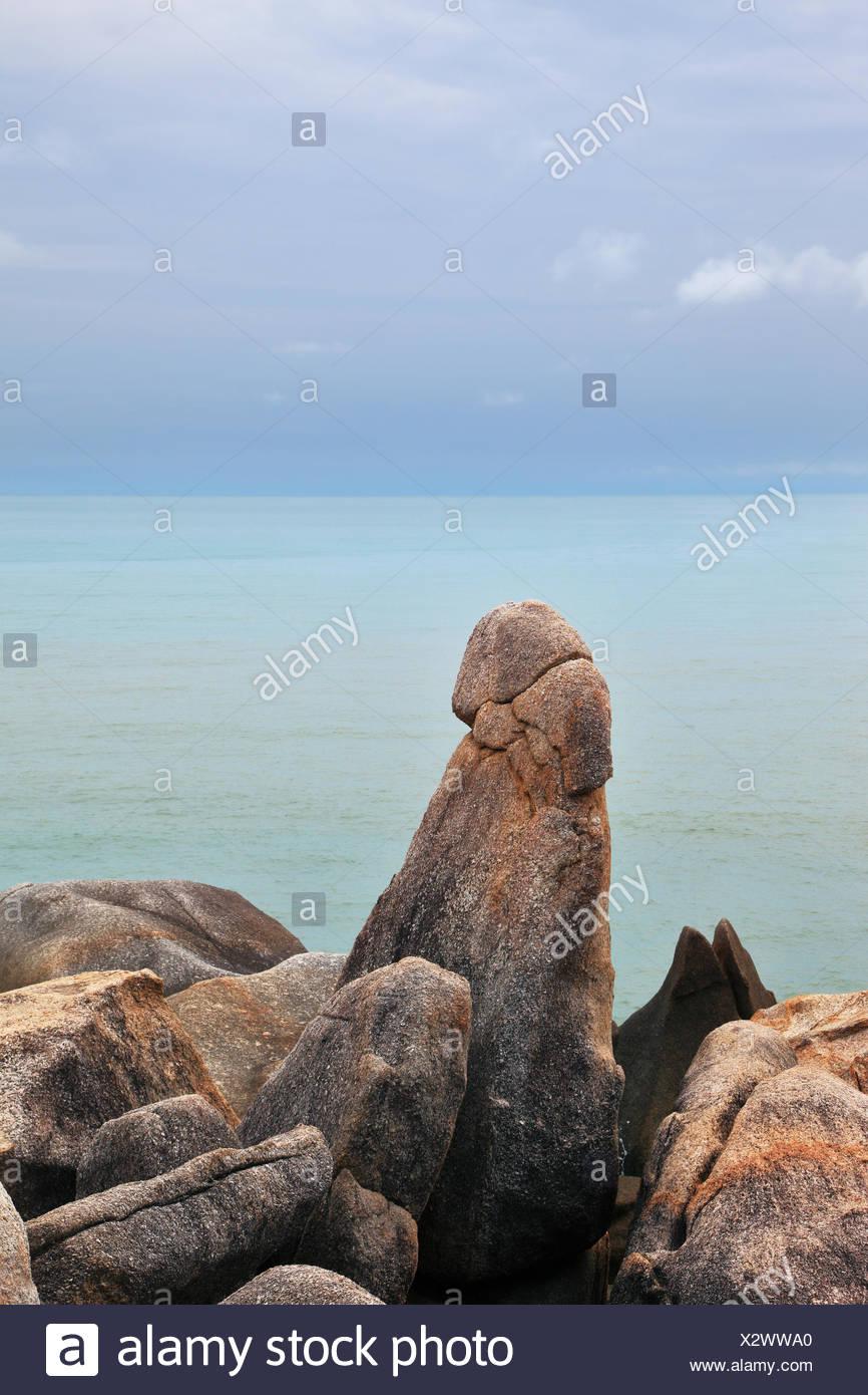The stones Grandma and Grandpa on the coast of Lamai Beach
