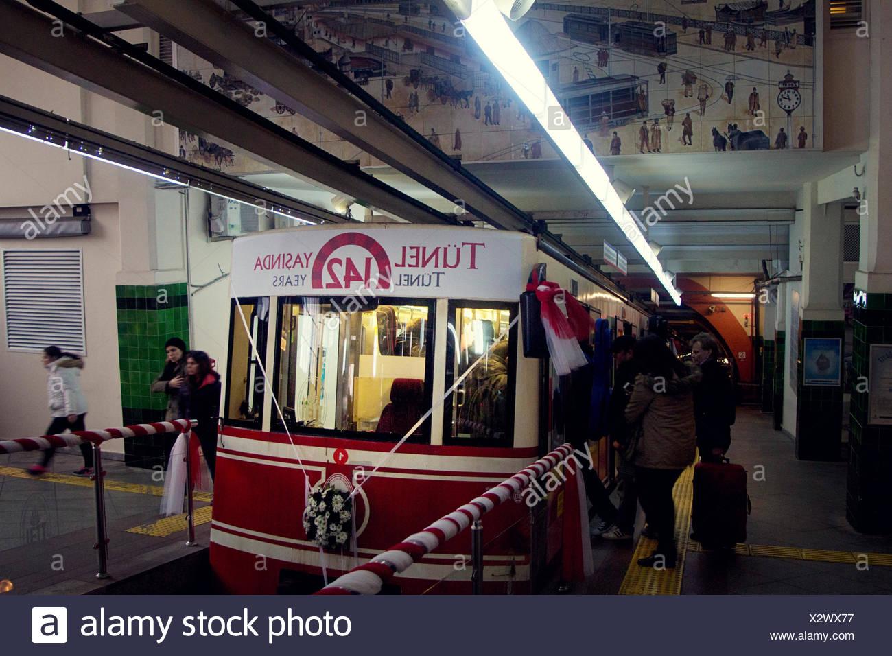 Taksim Tunnel Funicular train line. Istanbul Turkey - Stock Image