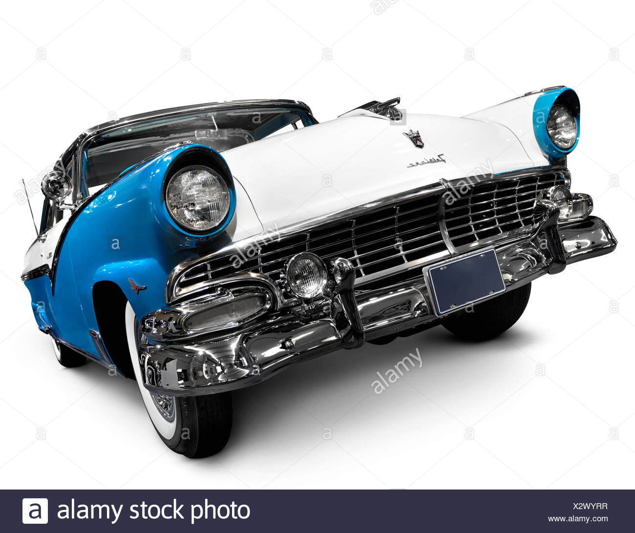 Turquoise blue Crown Victoria Skyliner 1956 Glasstop Vicky classic retro car by Ford Motor Company, also called Mercury - Stock Image