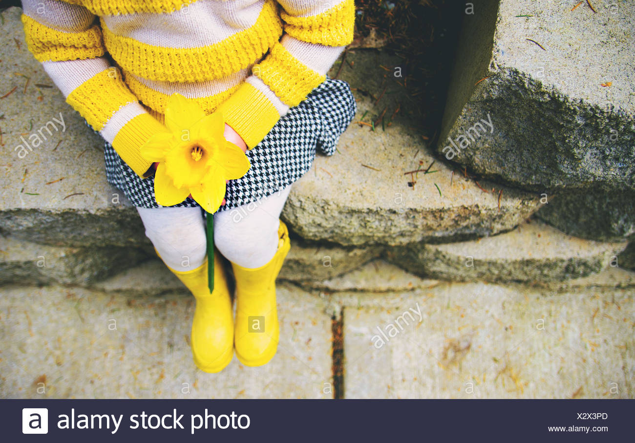 Girl holding daffodil (2-3 years) - Stock Image