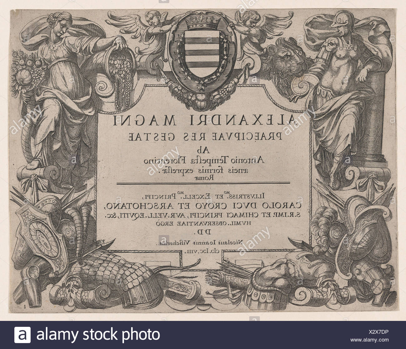 Frontispiece to the life of Alexander the Great, at left is Bellona and at right a female personification of abundance, the Coat of Arms of the Duke Stock Photo