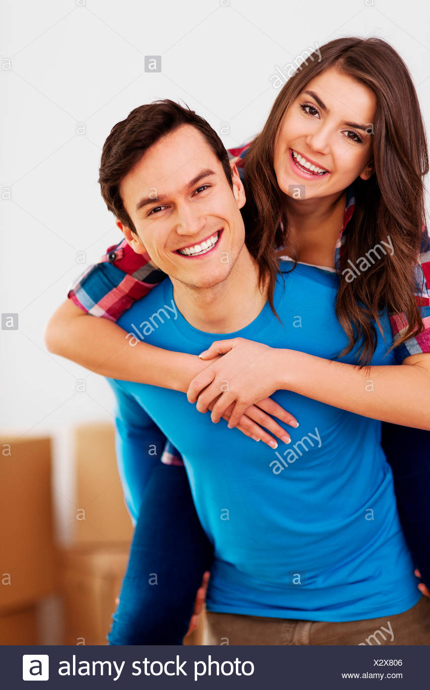 Portrait of a young happy and loving couple Debica, Poland - Stock Image