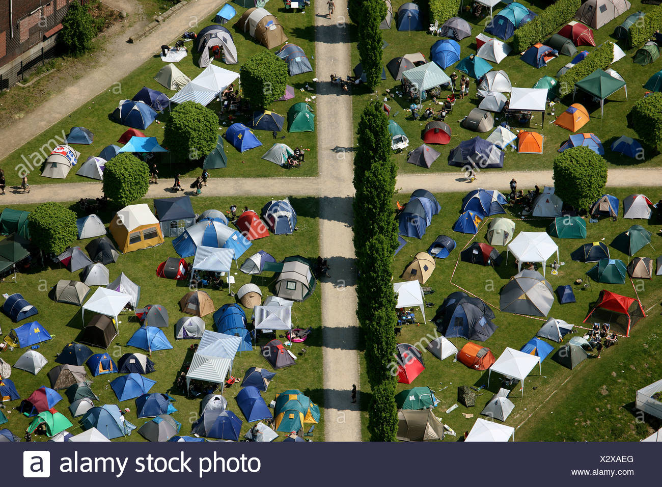 Aerial view, tents, crossing footpaths, Rock Hard Festival, Nordsternpark, Gelsenkirchen, Ruhr Area, North Rhine-Westphalia, Ge - Stock Image
