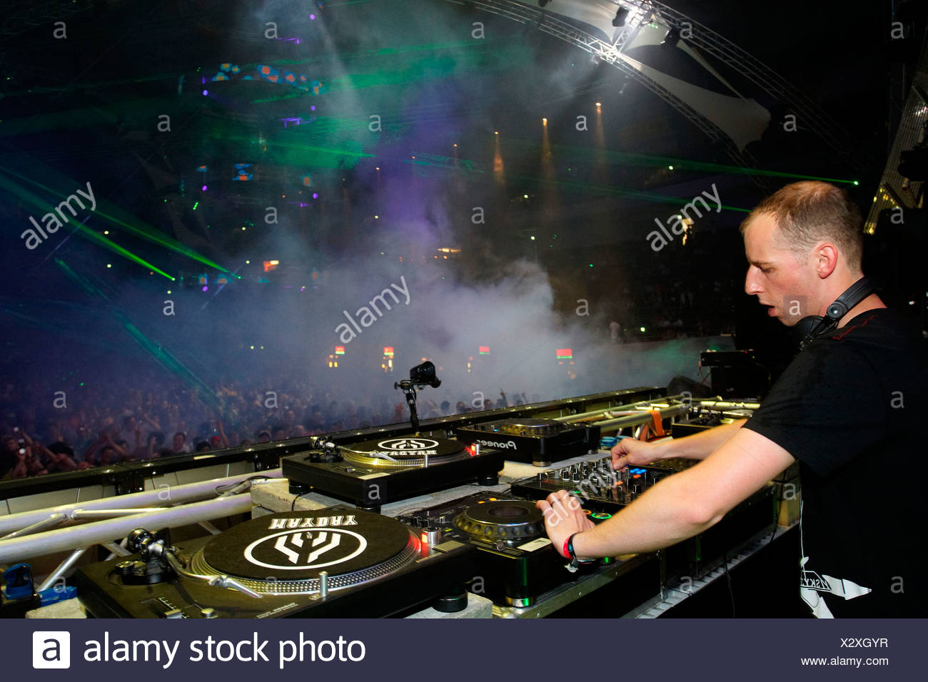 DJ Felix Kroecher, techno festival Mayday 2010 in the Westfalenhalle concert hall, Dortmund, North Rhine-Westphalia - Stock Image