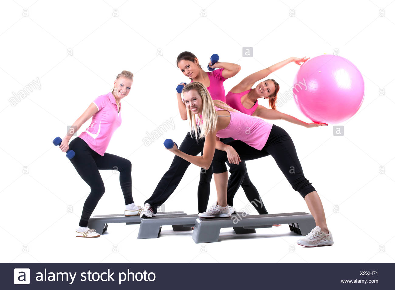 group of fitness instructors with accesories - Stock Image