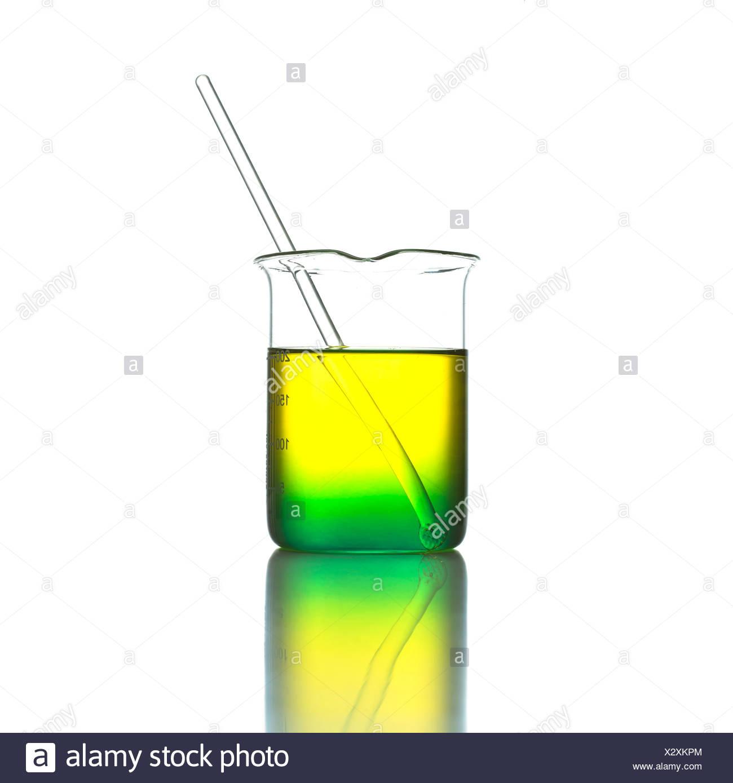 Beaker and glass rod - Stock Image