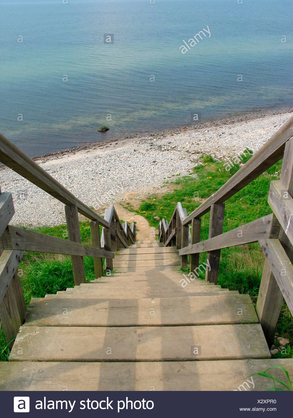 Germany Europe Wooden Staircase Rest Beach Baltic Sea Beach Access Steep  Coast Stohl Schleswig Holstein