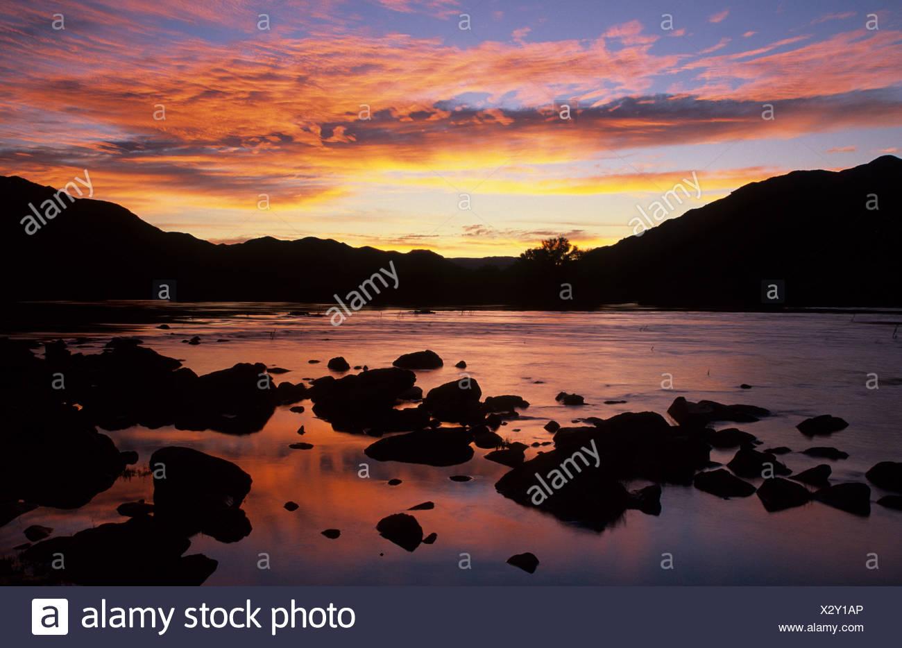 Orange River at sunset, Richtersveld National Park, Northern Cape, South Africa - Stock Image