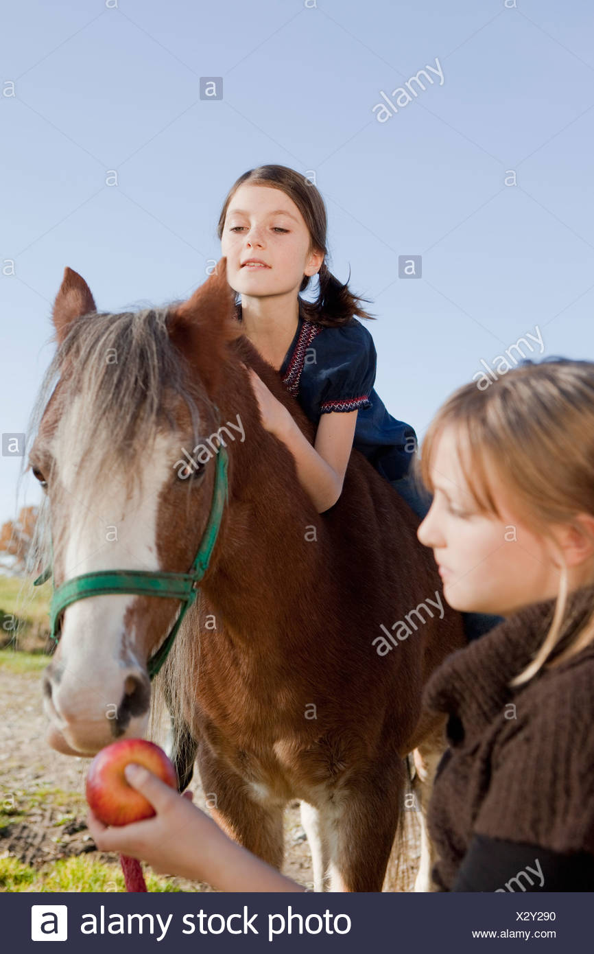 Girl on a horseback - Stock Image