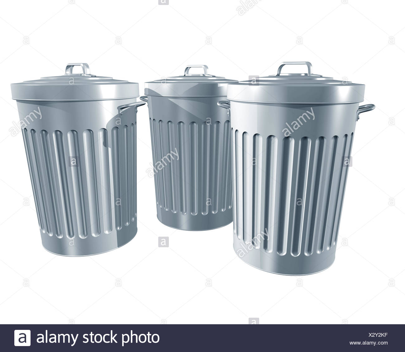 steel metal traditional trash galvanized bin rubbish sweepings can isolated - Stock Image