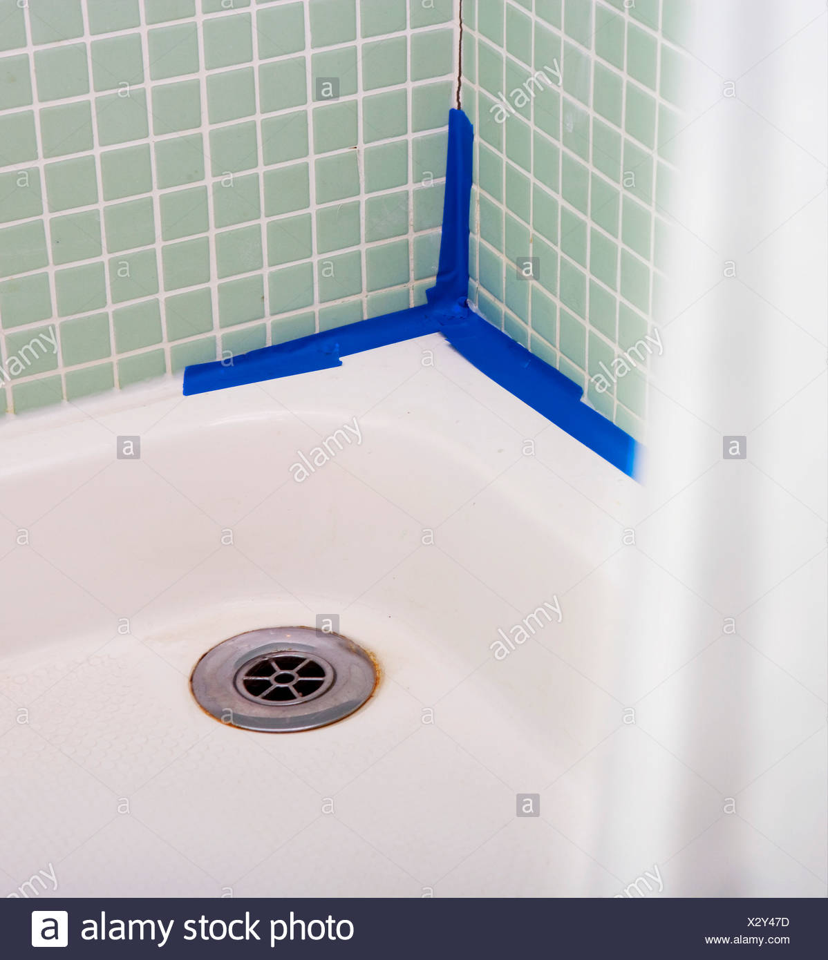 Leaking shower with bad DIY Stock Photo