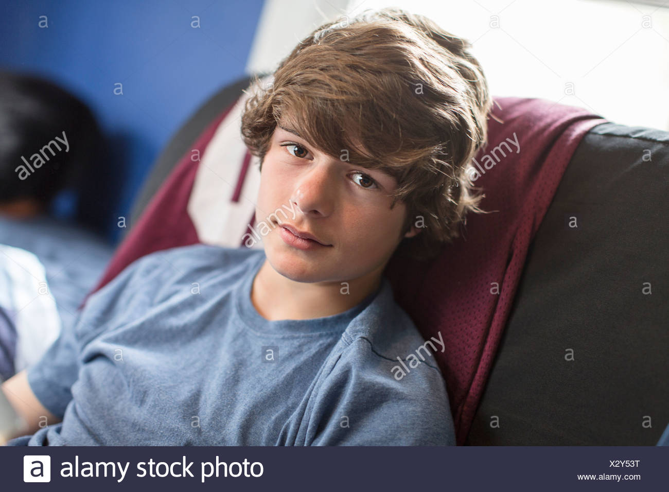 Portrait of teenage boy - Stock Image