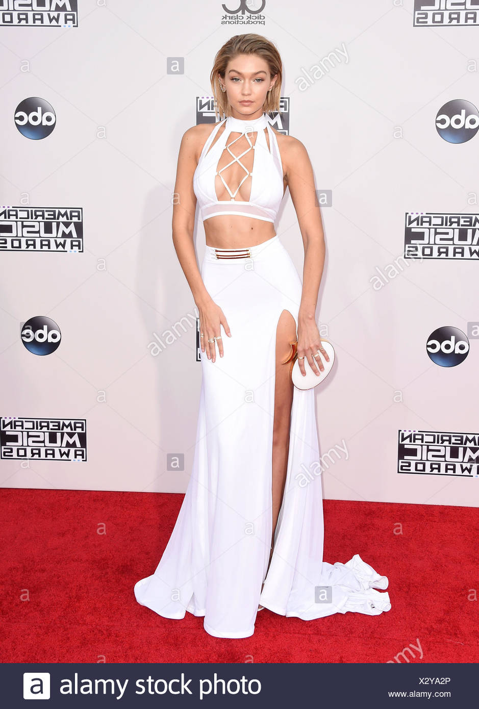 Model Gigi Hadid arrives at the 2015 American Music Awards at Microsoft Theater on November 22, 2015 in Los Angeles, California., Stock Photo