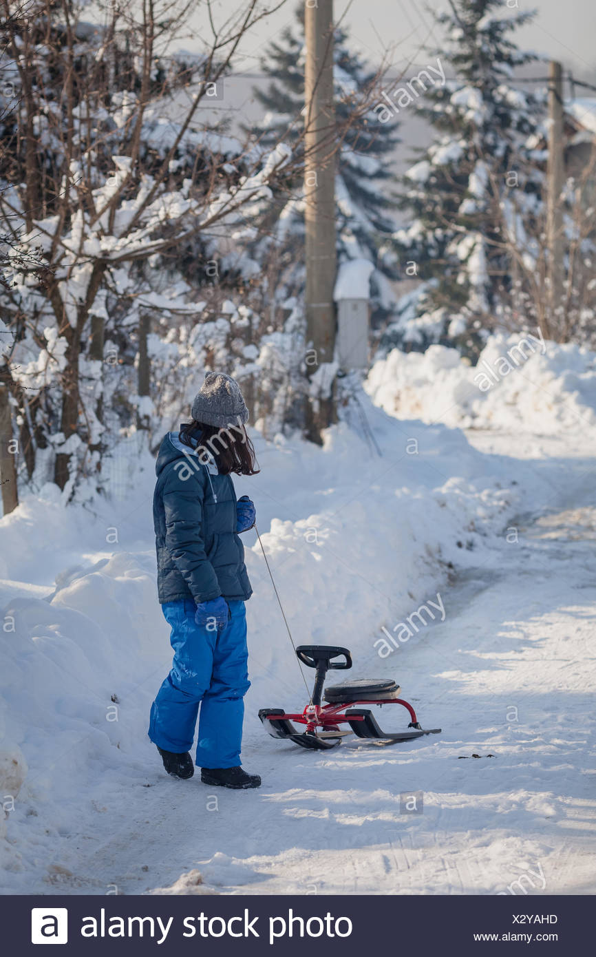 Girl pull a sledge in the snow - Stock Image