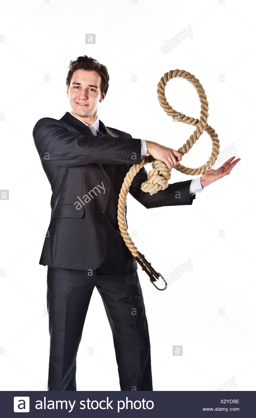 A man with a rope - Stock Image