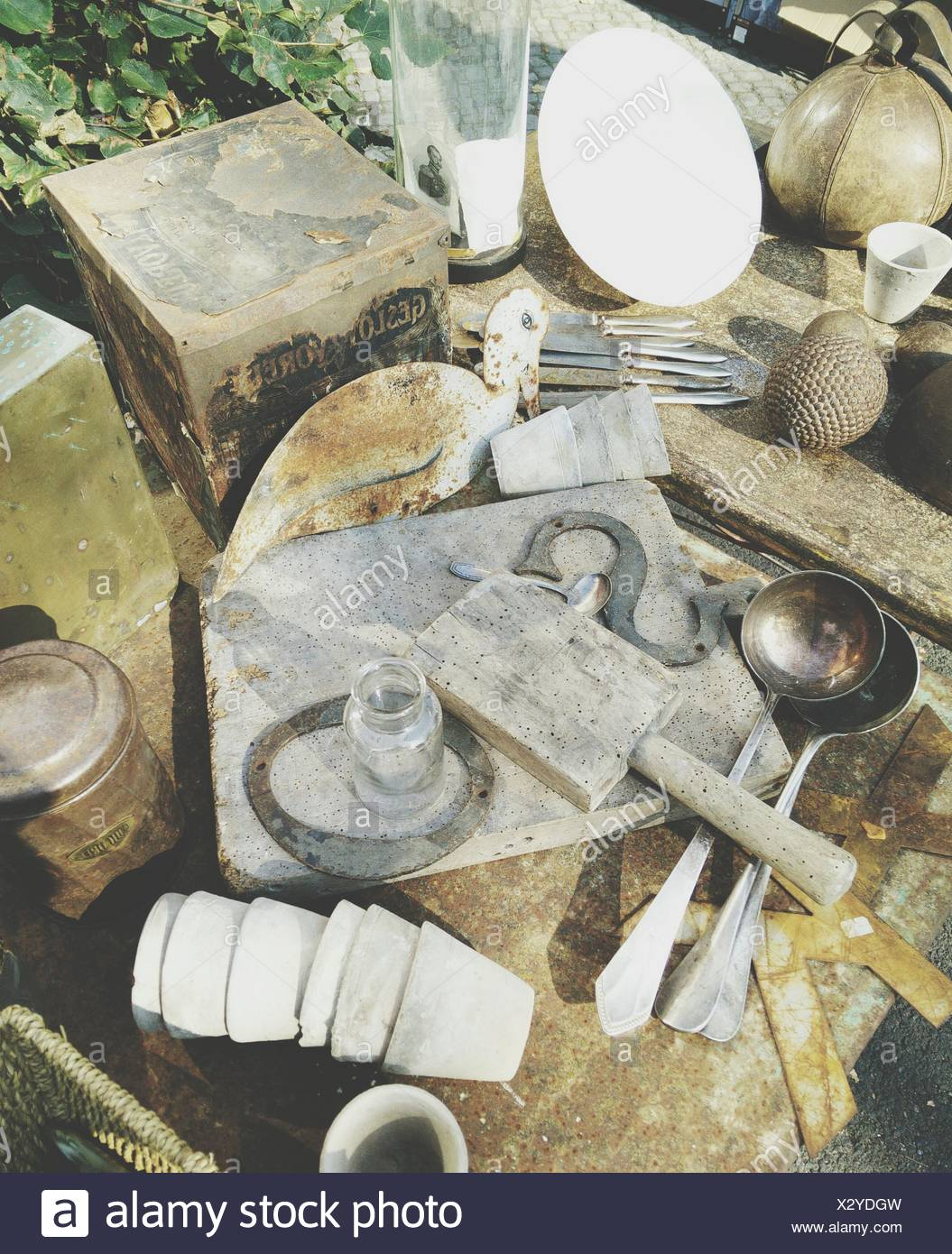 Close-Up Of Old Kitchen Utensils - Stock Image
