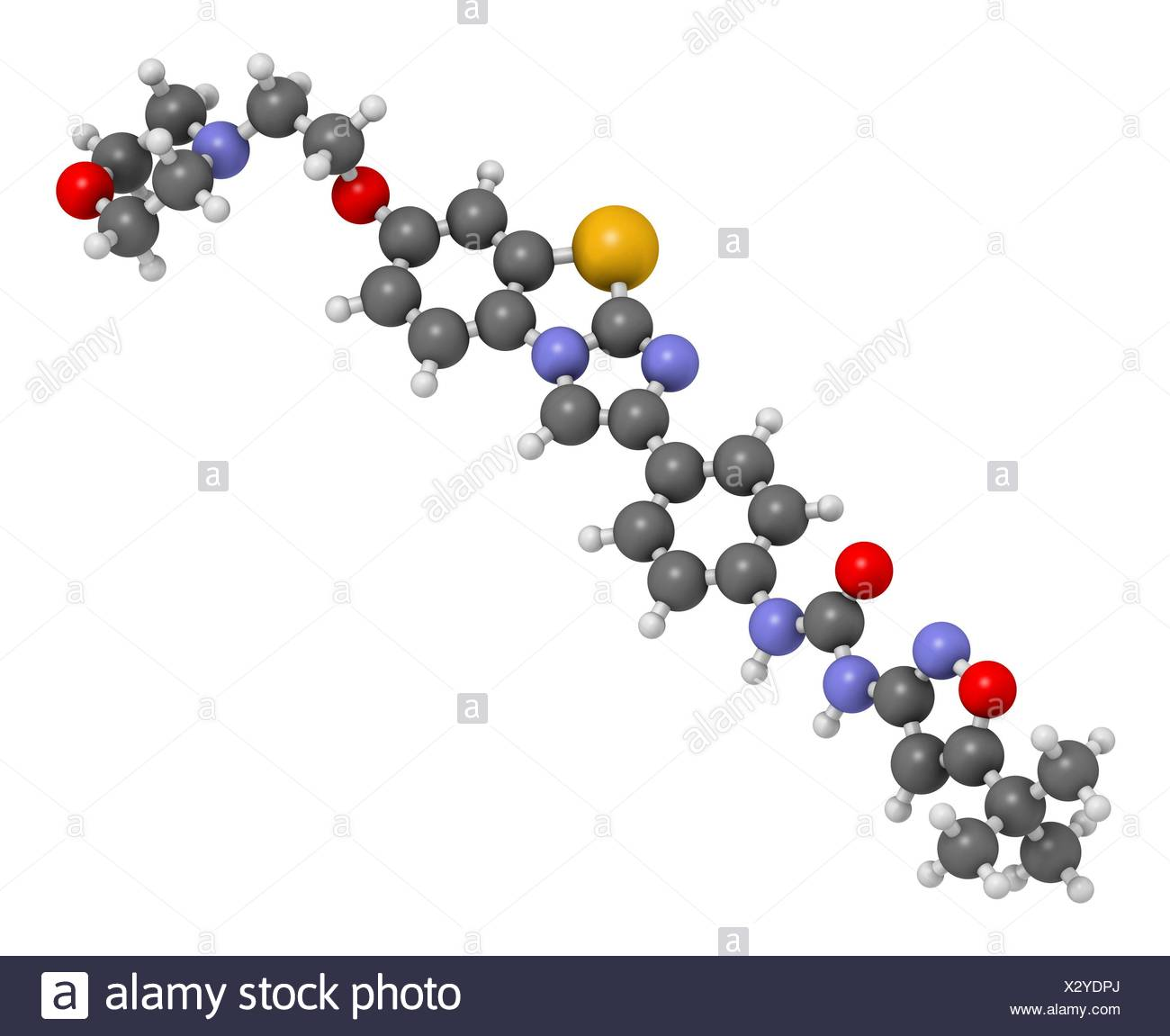 Quizartinib cancer drug molecule (kinase inhibitor). 3D rendering. Atoms are represented as spheres with conventional colour coding: hydrogen (white), carbon (grey), nitrogen (blue), oxygen (red), sulfur (yellow). - Stock Image