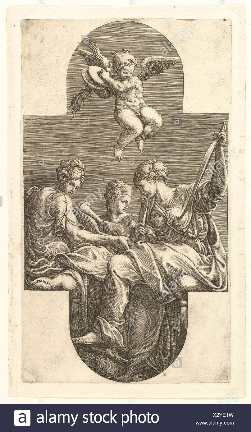 Three Muses and a Putto with Cymbals, a cruciform composition, from a series of eight compositions after Francesco Primaticcio's designs for the - Stock Image