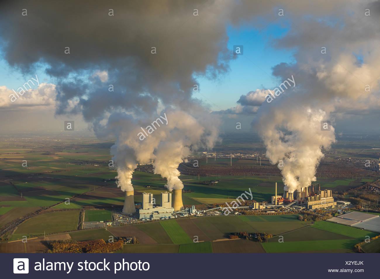 Lignite-fired power plant, RWE Power AG Neurath power station, BoA 2&3, Bergheim, Rhineland, North Rhine-Westphalia, Germany - Stock Image