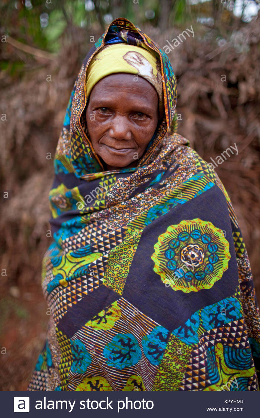 portrait of an elderly woman in traditional african clothing, Burundi, Karuzi, Buhiga Stock Photo