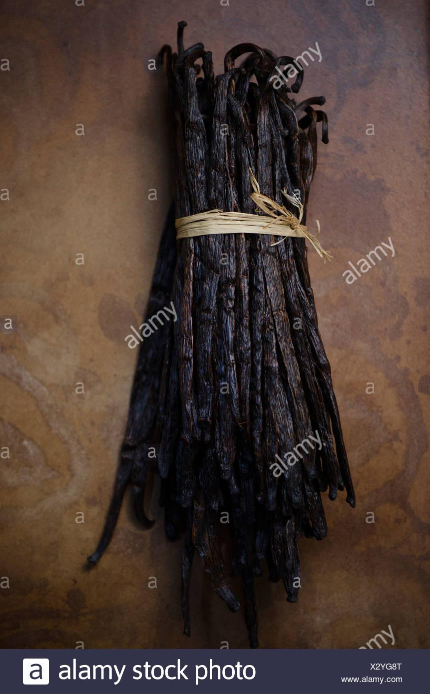 Bundle of Vanilla Beans - Stock Image