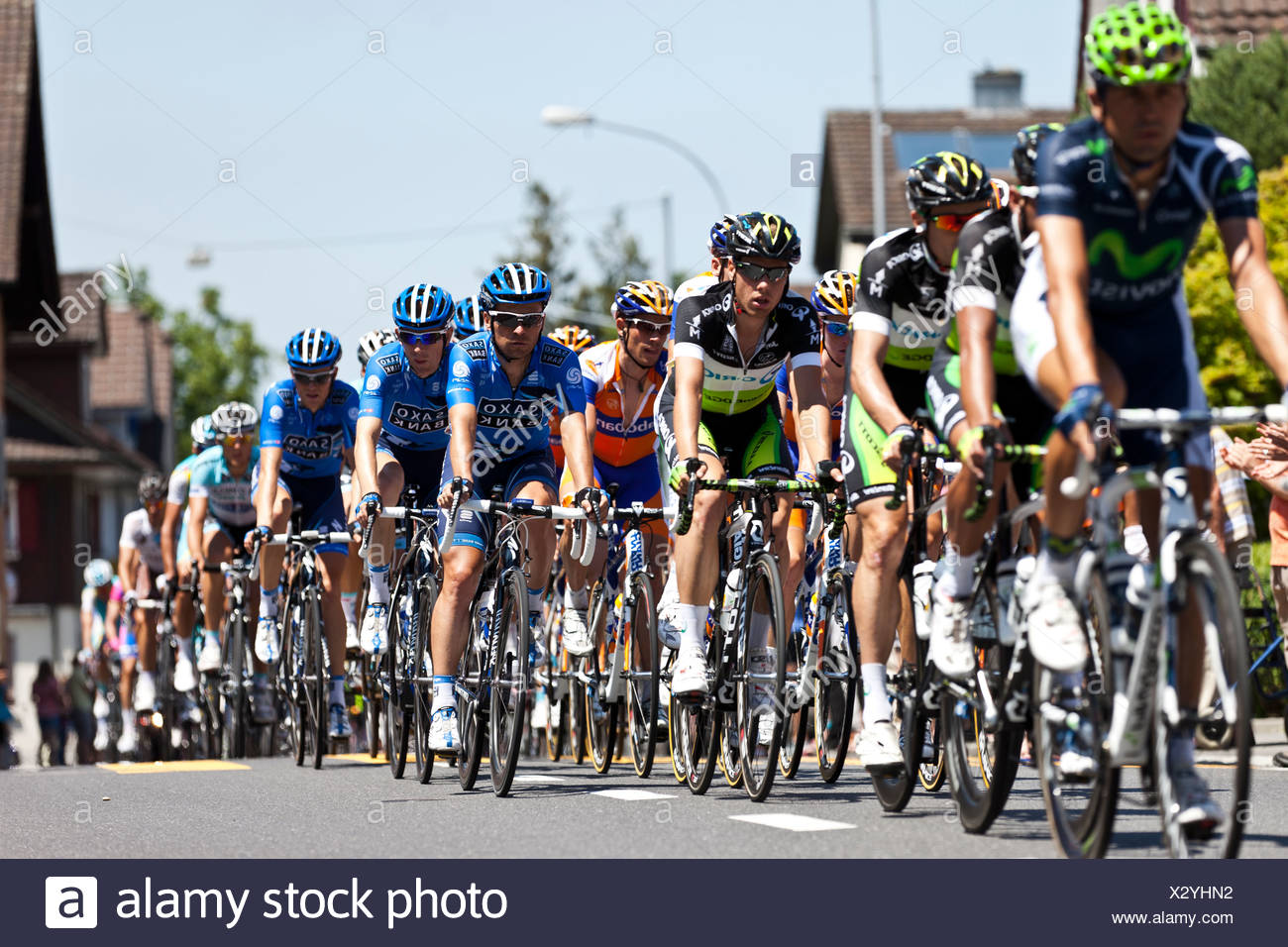 The peloton in the final stage of the Tour de Suisse 2012 Naefels to Soerenberg, Switzerland, Europe - Stock Image