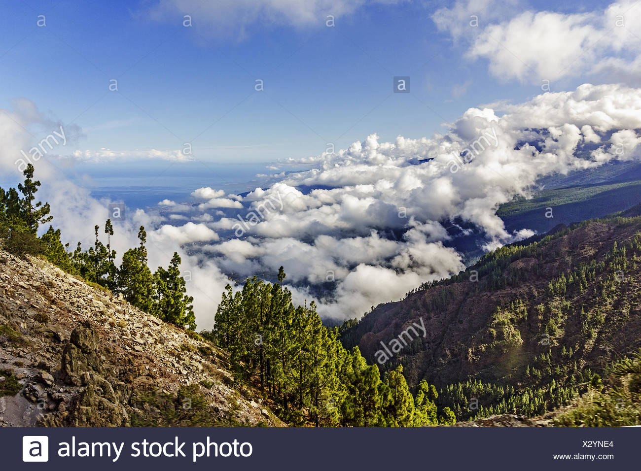 View From The Mountain Top Tenerife Canary Islands - Stock Image