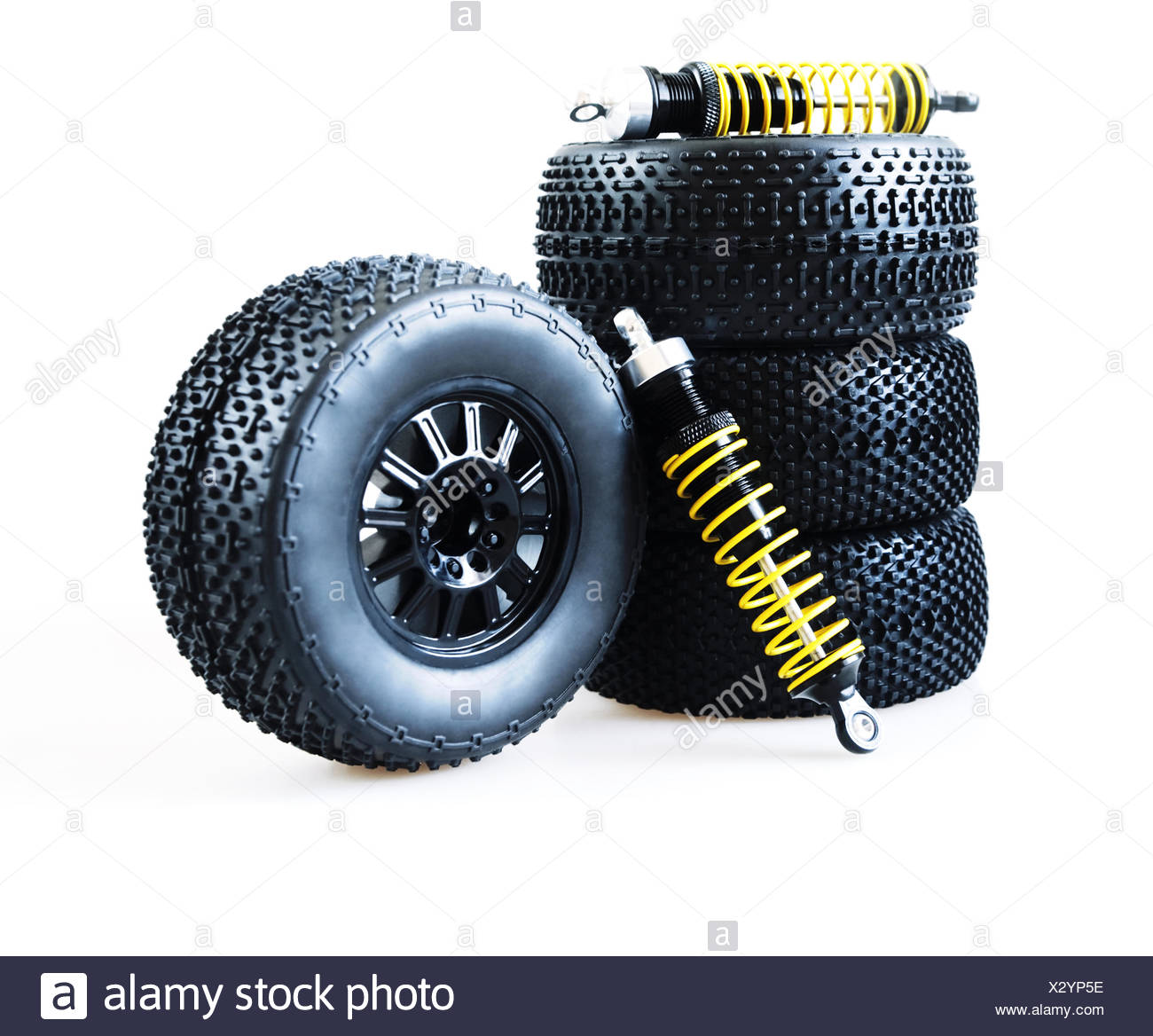 wheels and shock absorbers - Stock Image