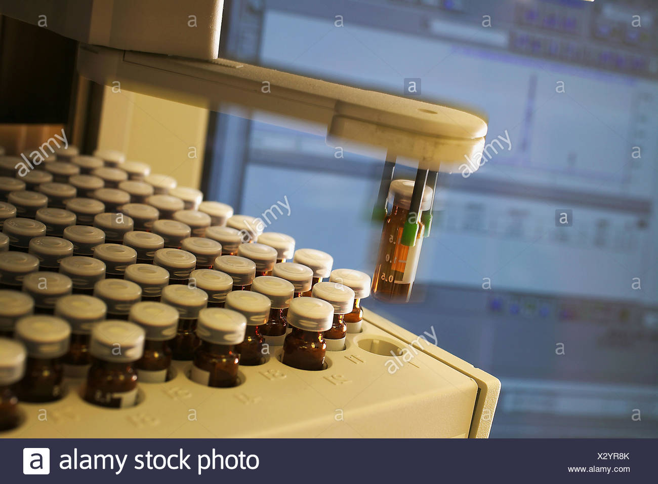 Diagnostics -quality control process in Pharmaceutical manufacturing facility - Stock Image