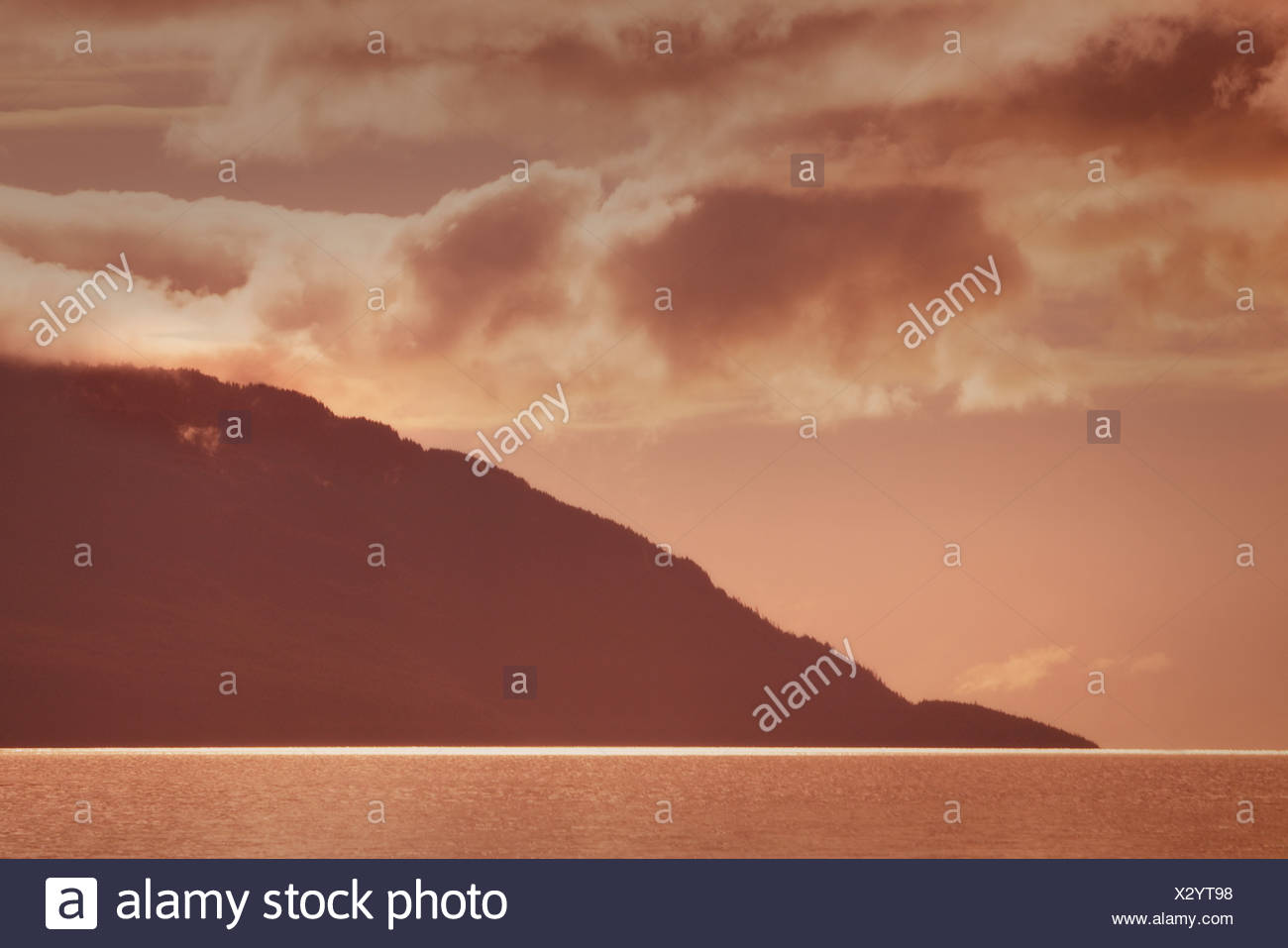 Lake and hills in neutral tones - Stock Image