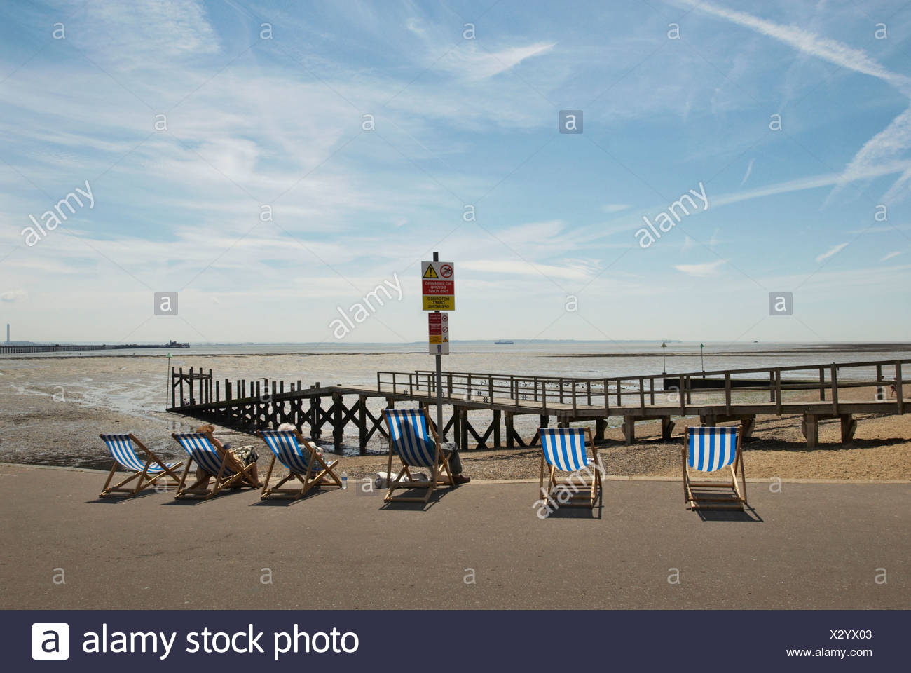 Deckchairs and seafront Southend-on-Sea Essex UK - Stock Image