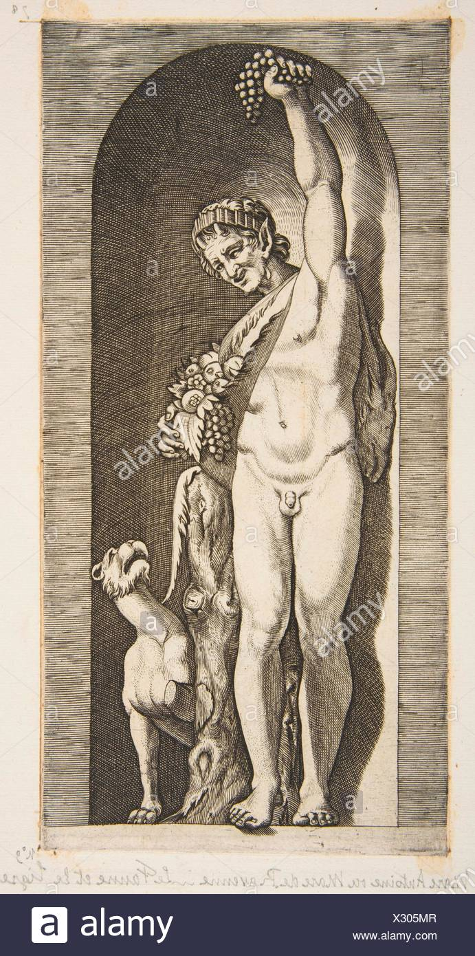 A faun standing in a niche holding aloft a bunch of grapes with his right hand and fruit with his left hand, a dog lower right. Artist: Marco Dente - Stock Image