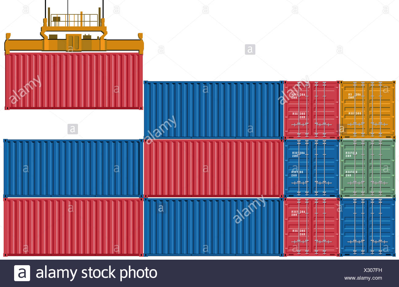 Upload and send container Stock Photo