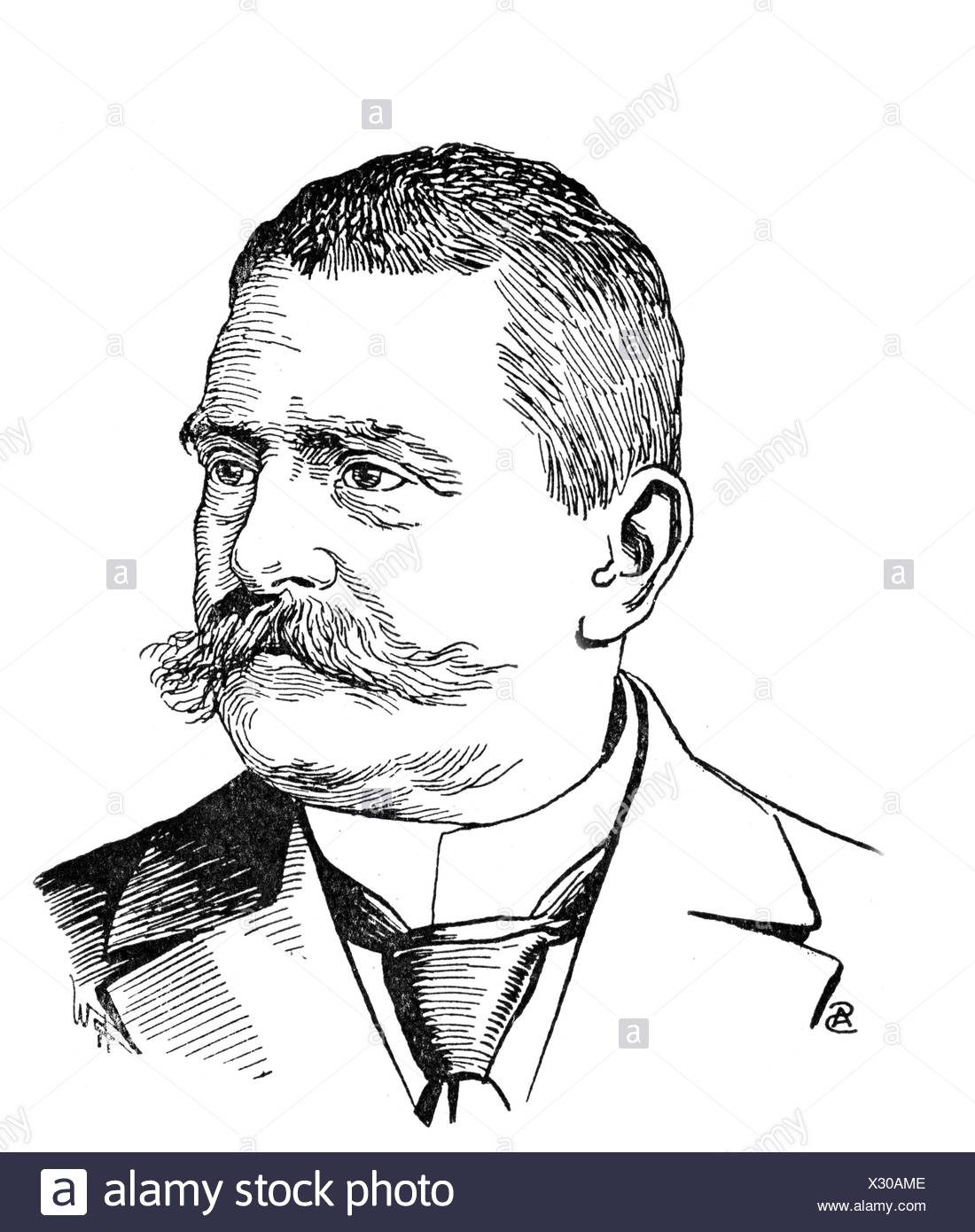 Liliencron, Detlev von, 3.6.1844 - 22.7.1909, German author / writer (lyric poet), , Additional-Rights-Clearances-NA - Stock Image