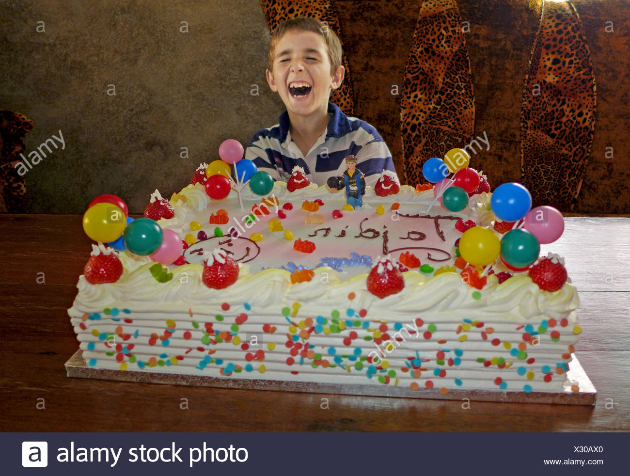 Astounding Child With Giant Birthday Cake Stock Photo 277218424 Alamy Birthday Cards Printable Benkemecafe Filternl