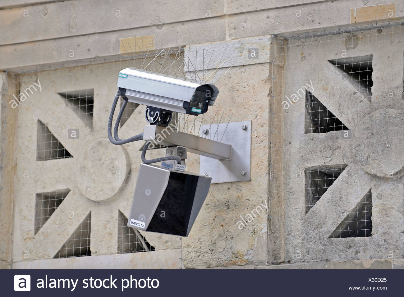 SUrveillance camera with passive infra-red sensor - Stock Image