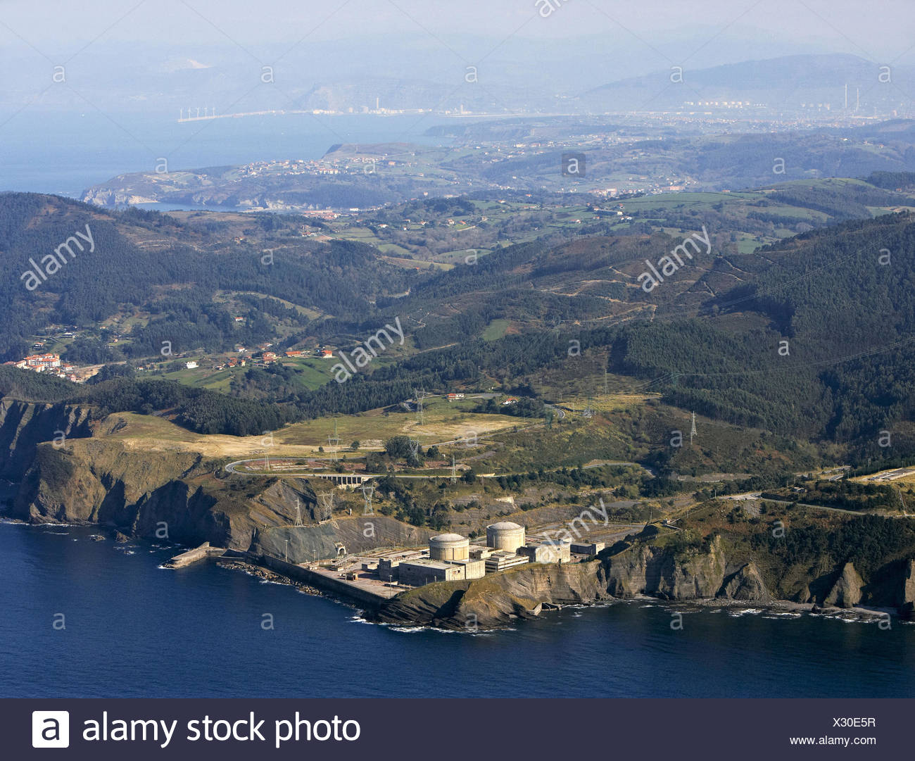 Unfnished nuclear Power Plant, Lemoiz, Biscay, Basque country, Spain - Stock Image