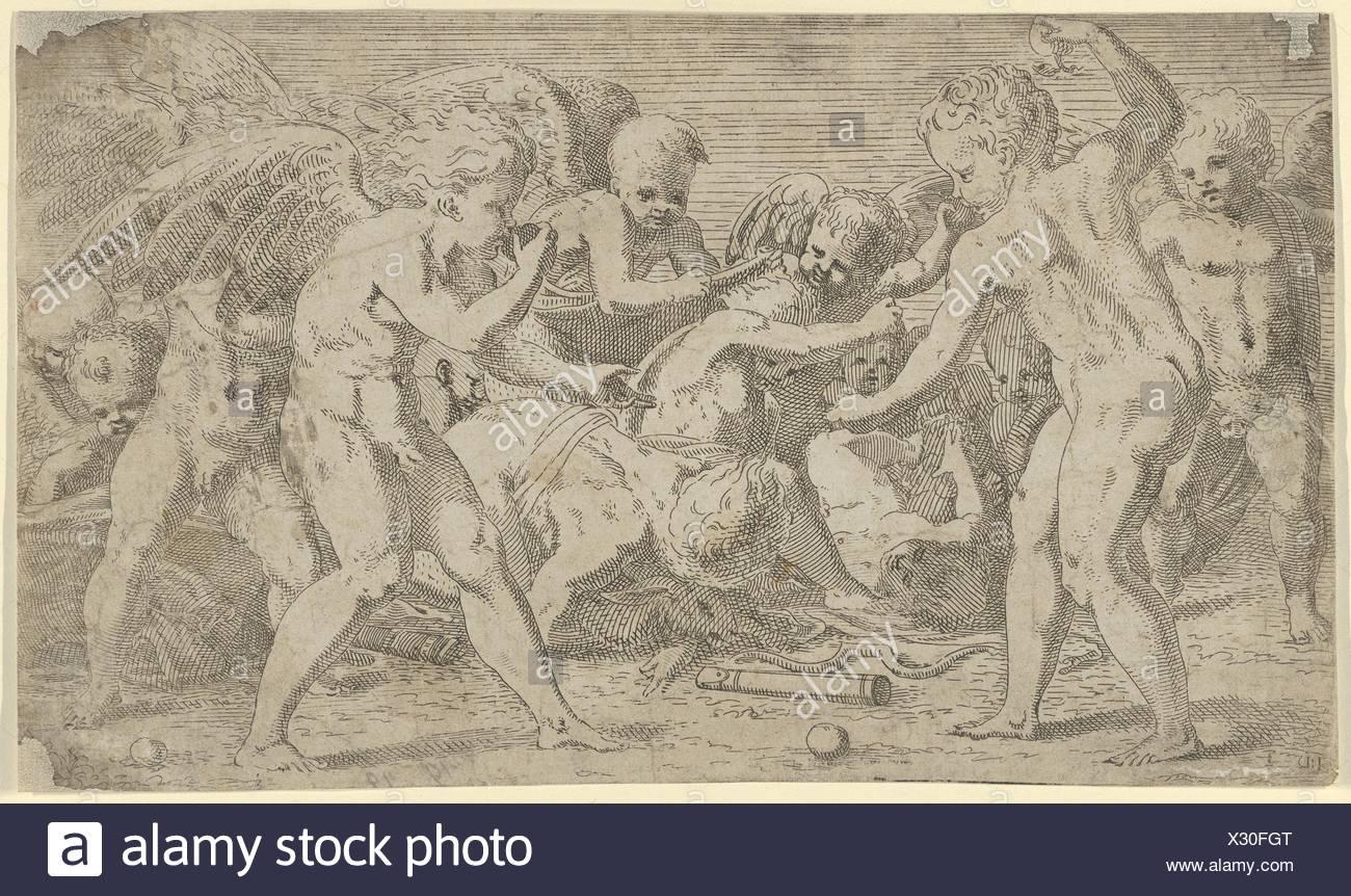 Eros and Anteros. Artist: Léon Davent (French, active 1540-56); Artist: After Francesco Primaticcio (Italian, Bologna 1504/5-1570 Paris); Date: - Stock Image