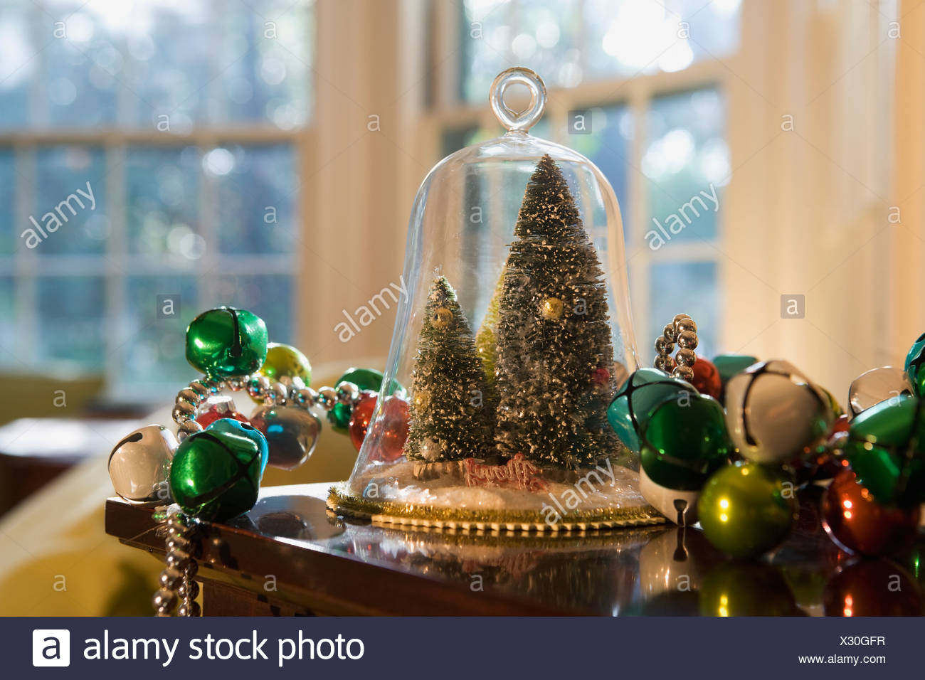 Christmas Decorations On Table Stock Photo 277222843 Alamy