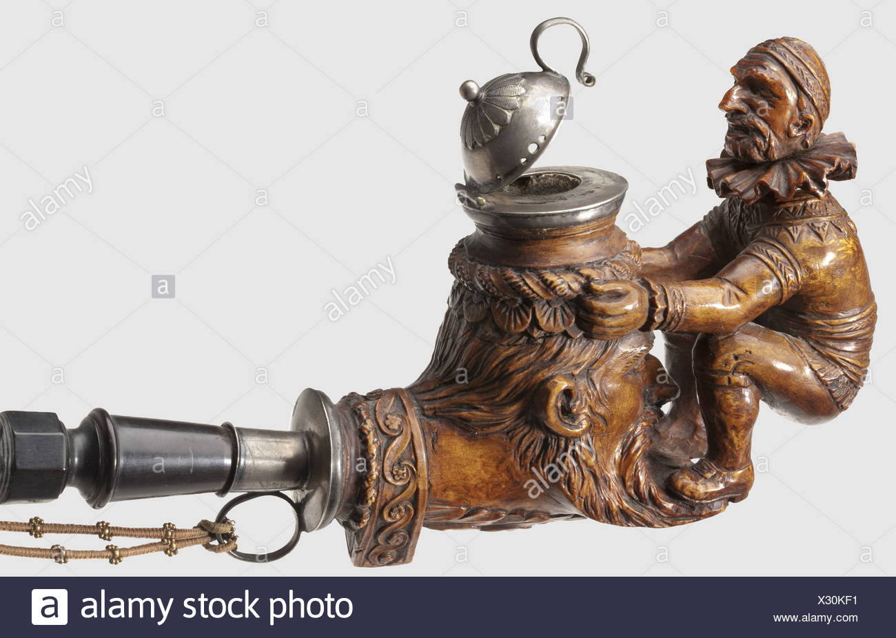 A German Pipe 2nd Half Of The 19th Century A Root Wood Pipe Bowl Made From Finely Grained Root Wood With A Carved Figure And A One Piece Match Holder Carved In The