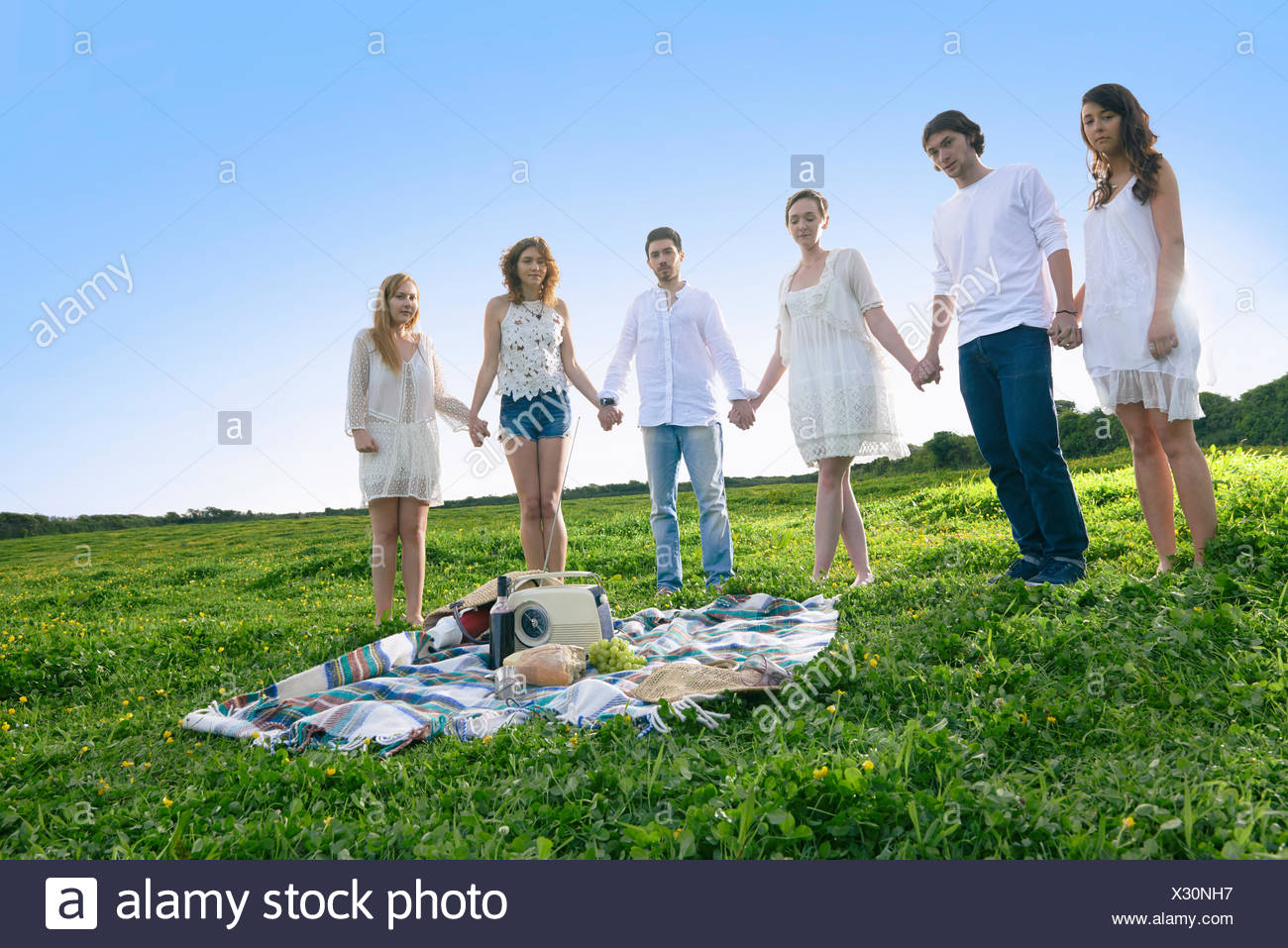 Portrait of six young adult friends holding hands in field Stock Photo
