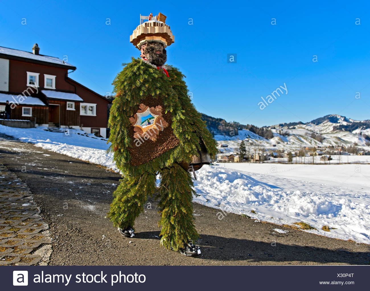 Naturchlaus goes from house to house on New Year's Eve Urnäsch, Canton Appenzell Ausserrhoden, Switzerland - Stock Image