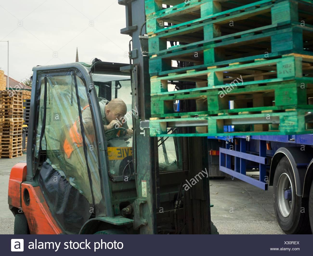 Forklift driver loading pallet stacks onto truck - Stock Image