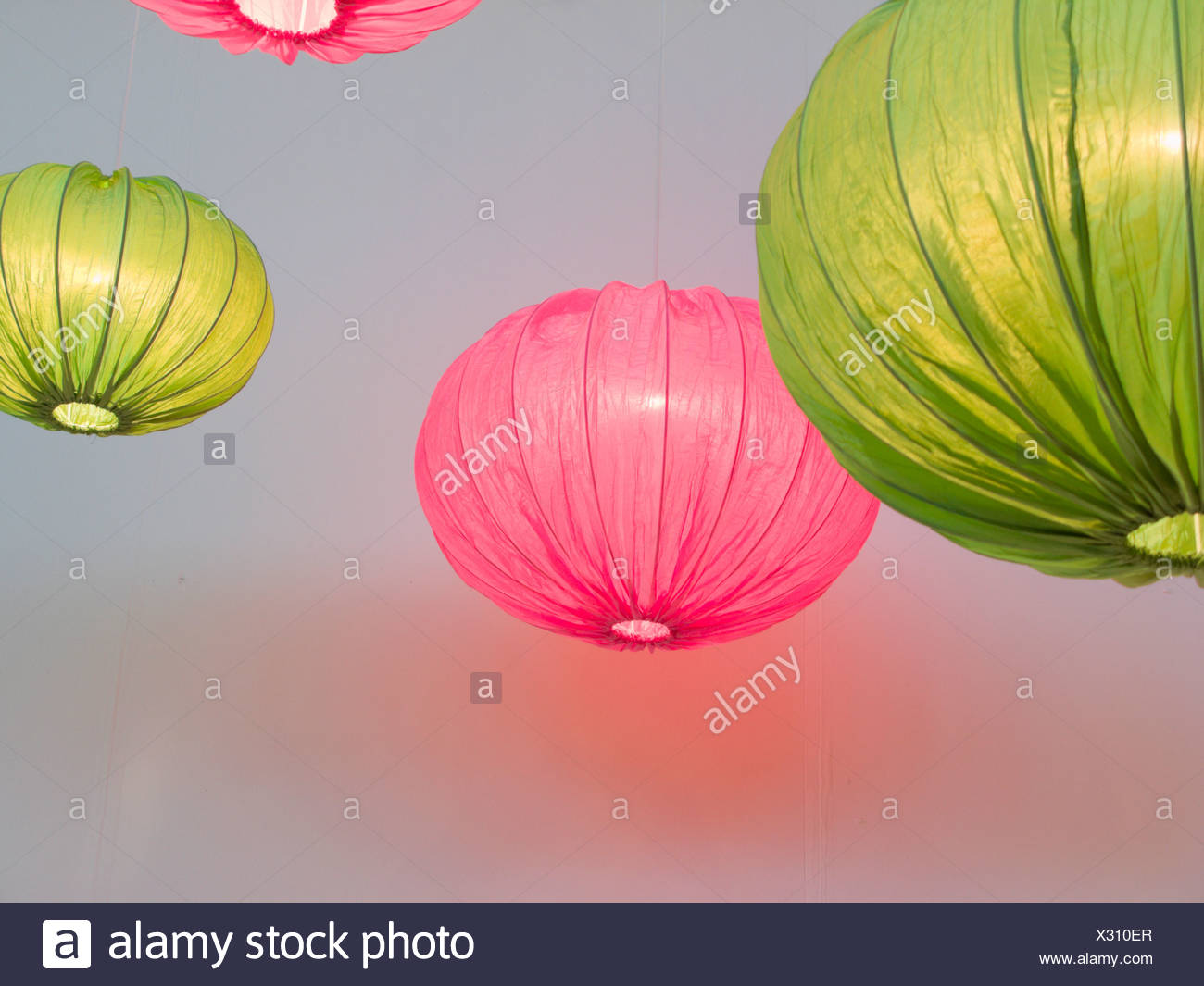 Pink and green ceiling lamps, Sweden. - Stock Image
