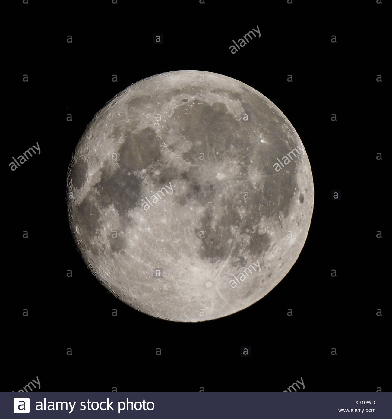 Full moon seen from a telescope from northern emisphere - Stock Image
