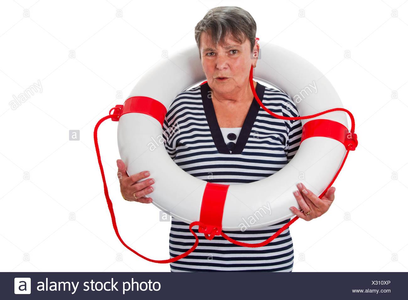 Seniorin mit Rettungsring - Freisteller Stock Photo
