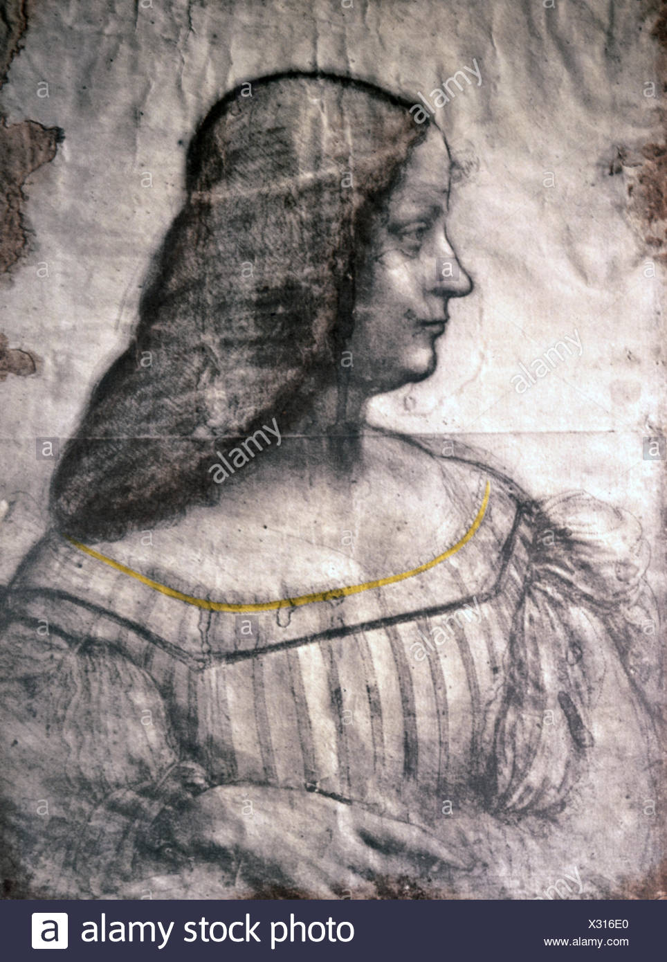 fine arts, Leonardo da Vinci (1452 - 1519), drawing, portrait study for a painting of Isabella d'Este (1474 -1539), Carta Tinta, paper, heightened with white chalk and slightly coloured, 63 x 46 cm, 1499/1500, Musee du Louvre, Paris, Artist's Copyright has not to be cleared - Stock Image