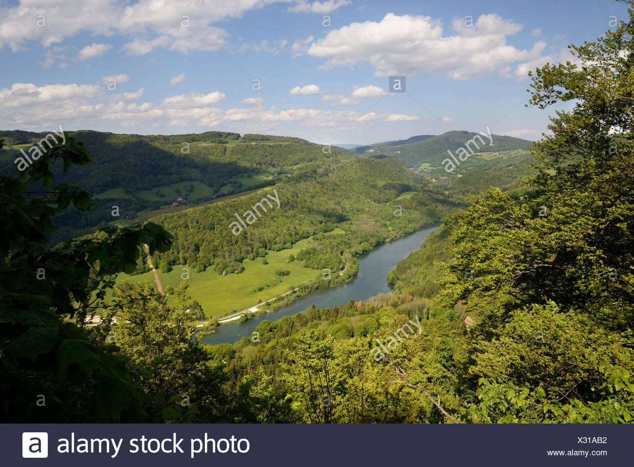 Doubs valley in springtime - France - Stock Image