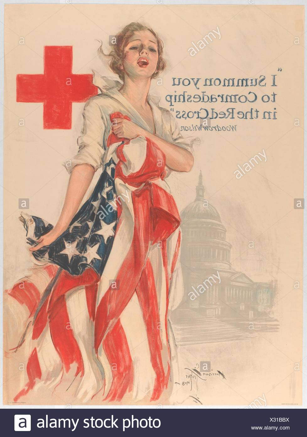 I Summon You to Comradeship in the Red Cross. Artist: Harrison Fisher (American, Brooklyn, New York 1877-1934 New York); Date: 1918; Medium: Color - Stock Image