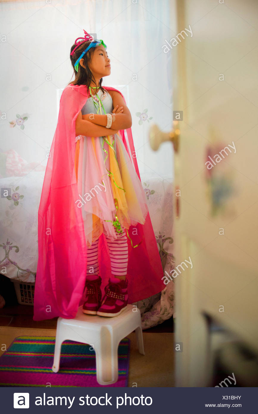 Young girl wearing fancy dress costume - Stock Image